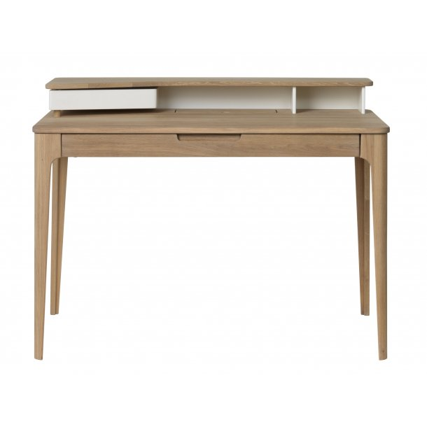 Amalie skrivebord med 1 skuffe i hvid, fineret og massiv eg hvid olieret.