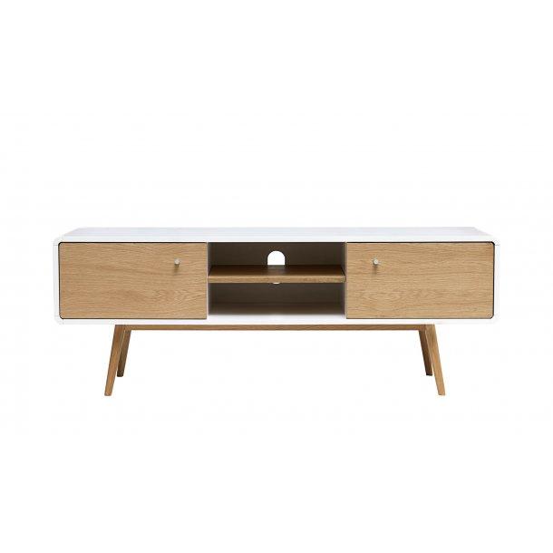Tula TV bord med 2 låger og 1 hylde i hvid, massiv og fineret eg.