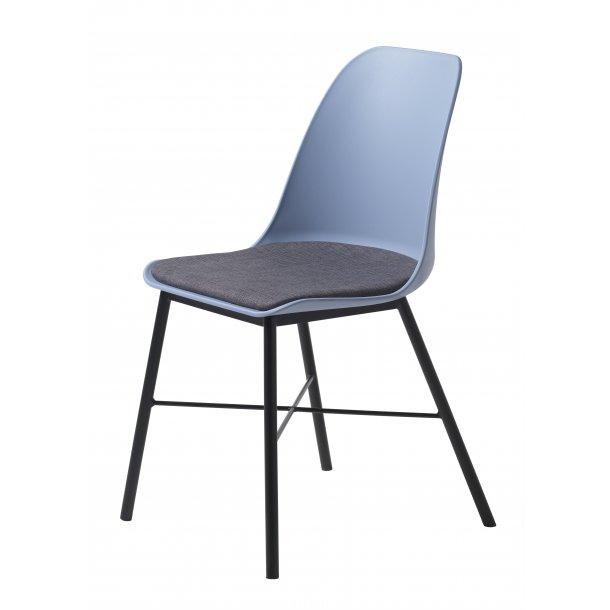 Whise spisestuestol i støvet blå og grå, stel i sort metal.