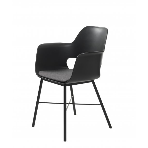 Whise spisestuestol med armlæn i sort og grå, stel i sort metal.