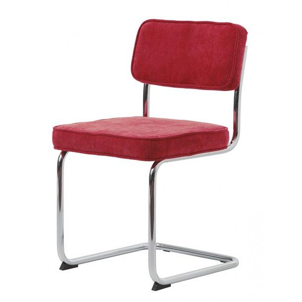 Ruffle spisestuestol som slædestol i rød og stel i krom.