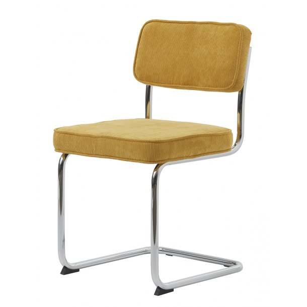 Ruffle spisestuestol som slædestol i gul og stel i krom.