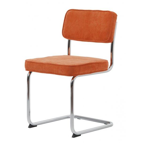 Ruffle spisestuestol som slædestol i orange og stel i krom.