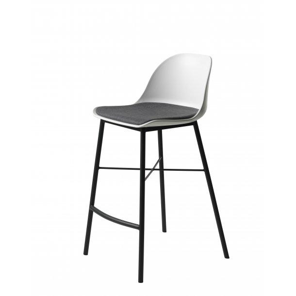 Whise barstol i hvid og grå, stel i sort metal.