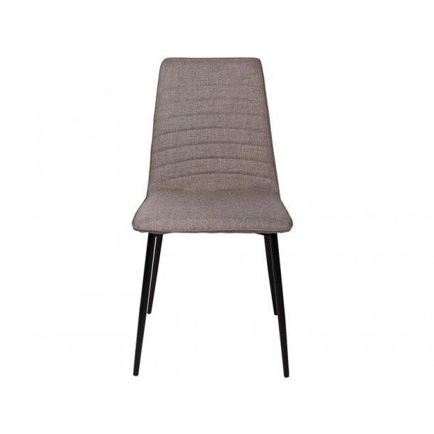 Line spisestuestol i grå polstret sæde og sorte metal ben.