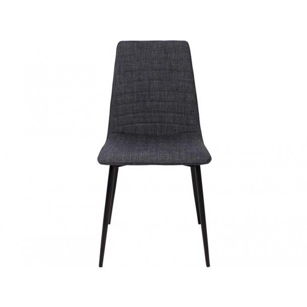 Line spisestuestol i jeans blå polstret sæde og sorte metal ben.