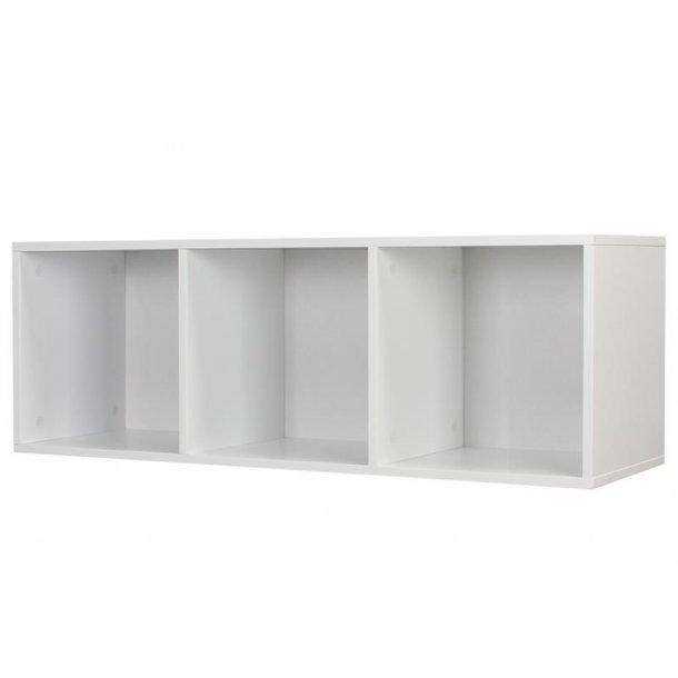 Stripe modulreol med 3 rum i hvid lakeret.