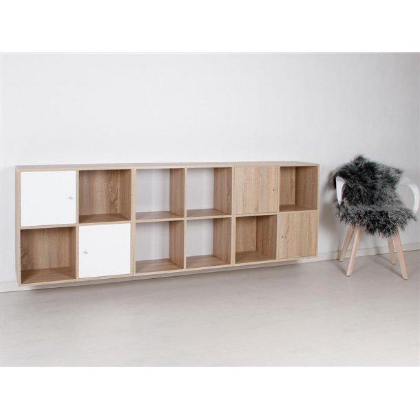 Stripe modulreol med 12 rum, 2 låger i 3D Sonoma eg og 2 låger hvid.
