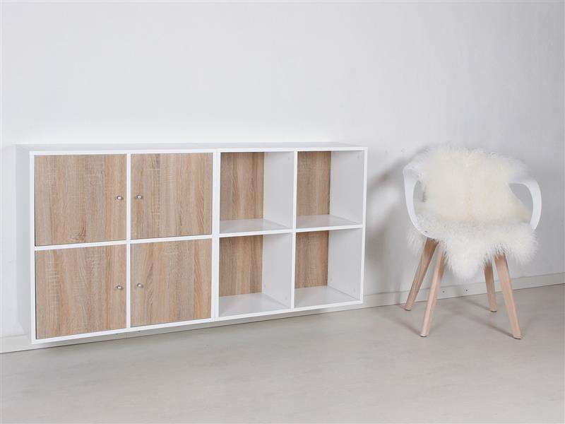 stripe modulregal mit 8 f chern und 4 t ren in weiss lackiert und 4 t ren bestellen sie hier. Black Bedroom Furniture Sets. Home Design Ideas