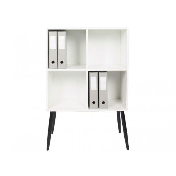 Stripe modulreol med 4 rum i hvid og 4 stk. ben i sort.