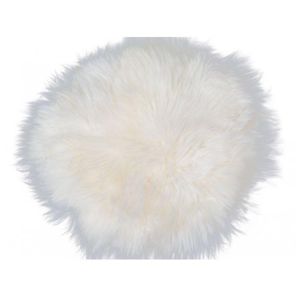 Mauris stolehynde Ø35 cm i hvid lammeskind fra New Zealand.