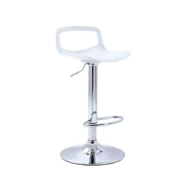 Venir barstol i hvid og trompetfod i krom stel.
