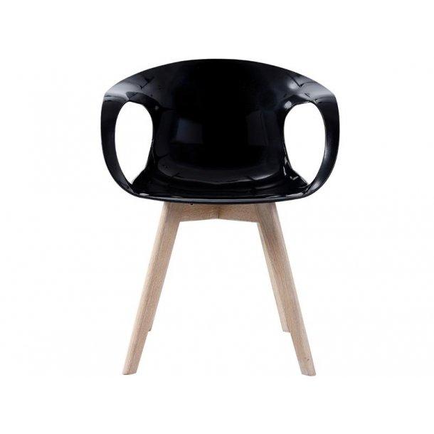 Tonie spisestuestol i formstøbt plast sort og ben i massiv eg hvidolieret.