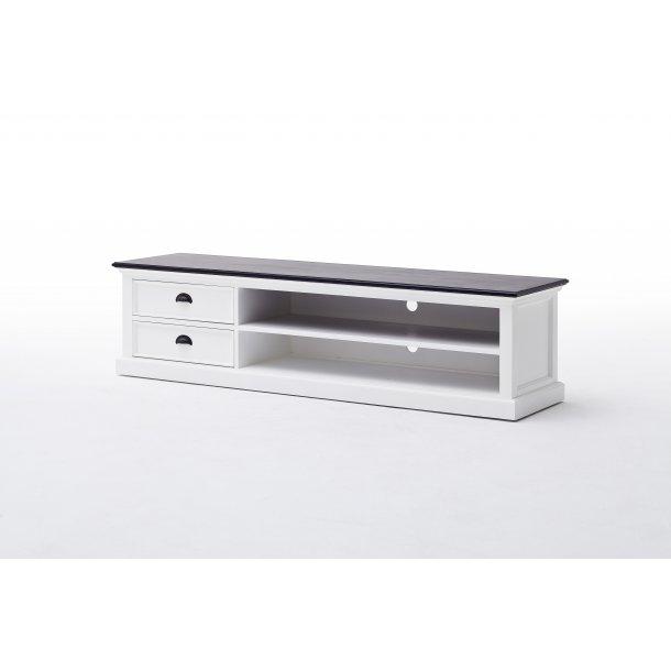 HalifaxContrast TV møbel med 2 skuffer og 1 hylde hvid med sort top.