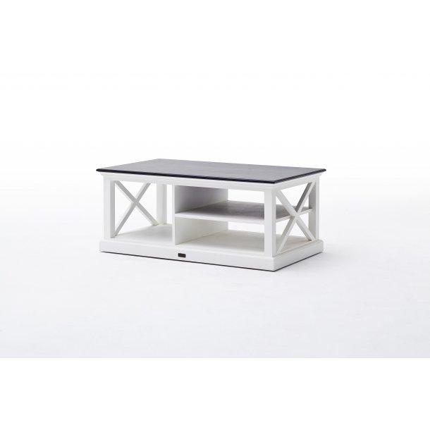 HalifaxContrast sofabord med hylde hvid med sort top.