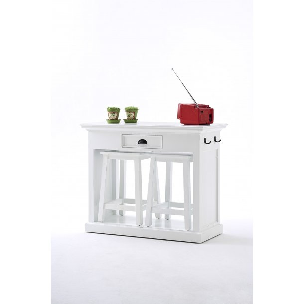 Halifax spisebordssæt med 2 skamler hvid.