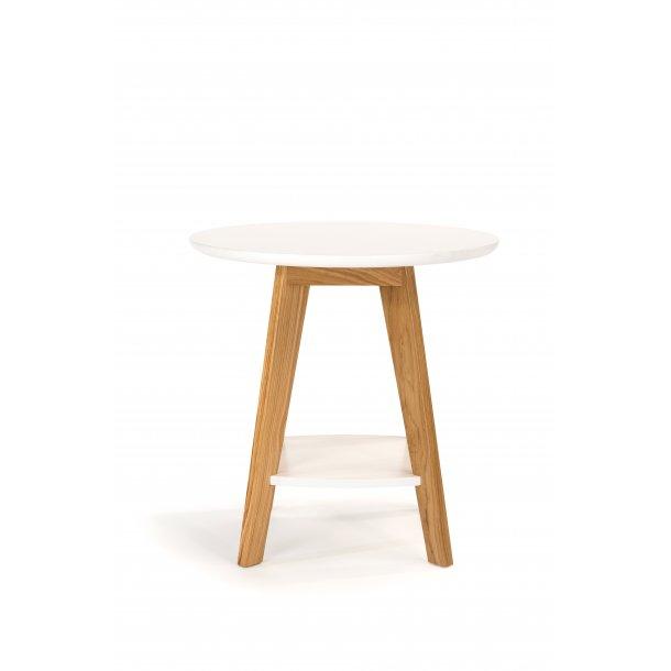 Kanny sofabord  Ø 55 cm med 1 hylde hvid og massiv eg.