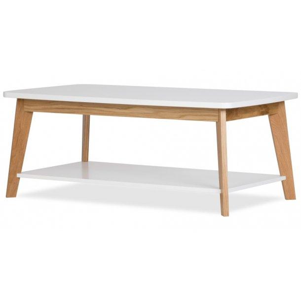 Kanny sofabord afrundet bordplade og med 1 hylde hvid og massiv eg.