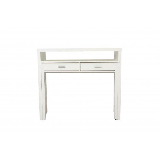 Conley skrivebord med udtræks bordplade, 2 skuffer og 1 hylde hvid.
