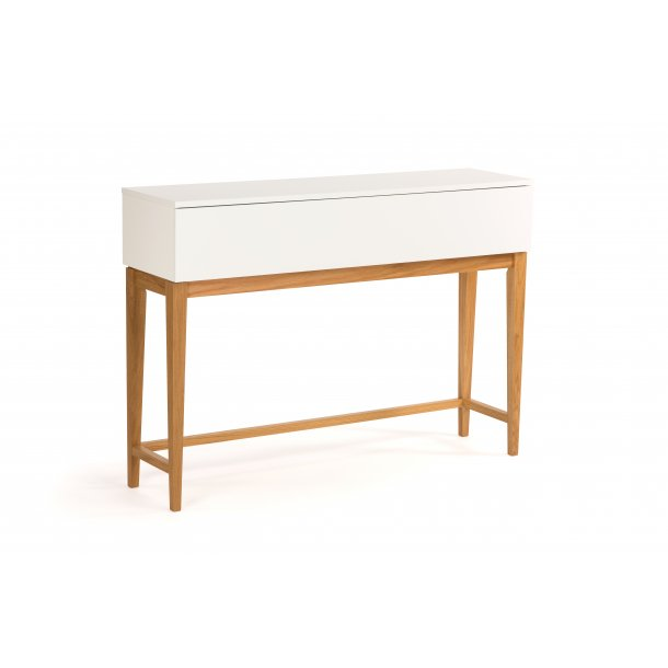 Blance konsolbord med 1 skuffe hvid og massiv eg.
