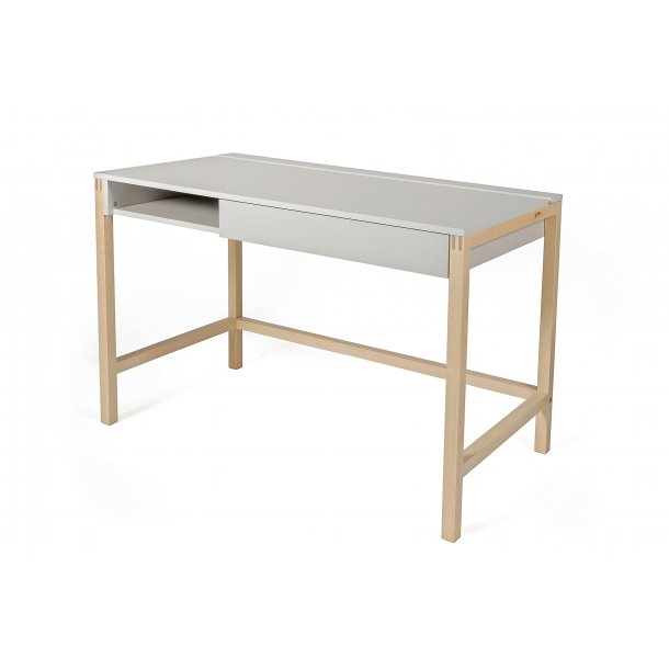 Normad skrivebord med 1 skuffe og hylder grå og birk.