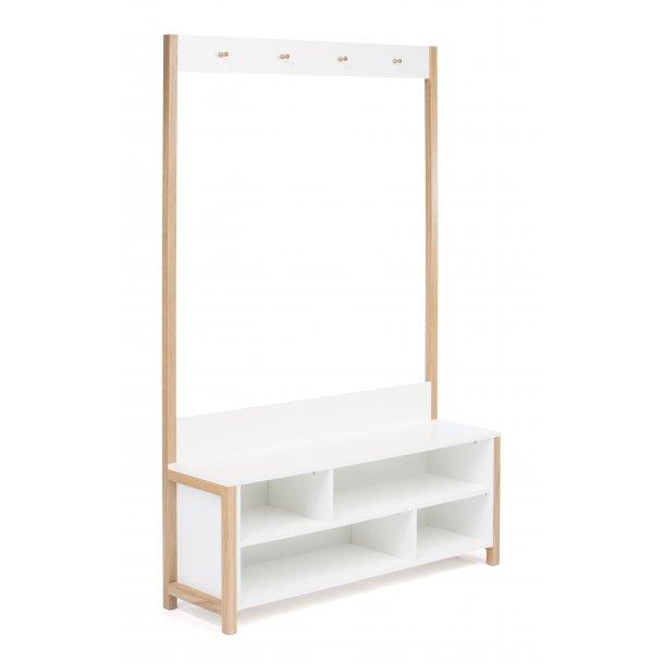 Normad stumtjener entremøbel med knager, siddeplads og hylder hvid og massiv eg.