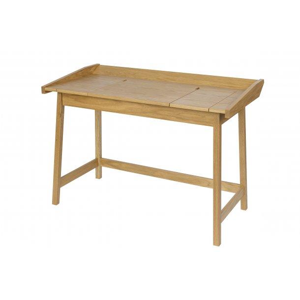 Barsa skrivebord med små rum under bordplade eg.