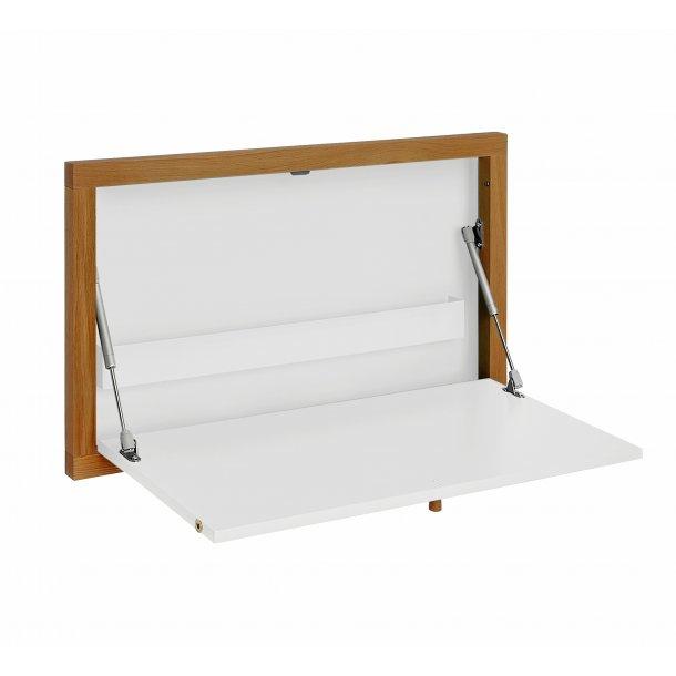 Brince skrivebord til vægophæng med 1 stål hylde hvid og eg.