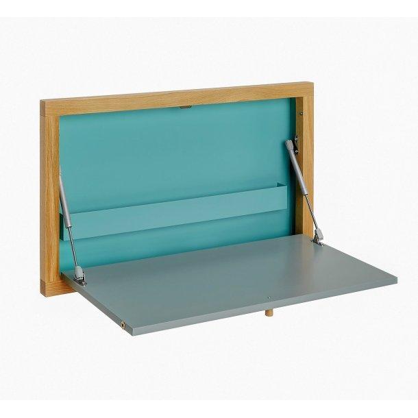 Brince skrivebord til vægophæng med 1 stål hylde grå, blå og eg.
