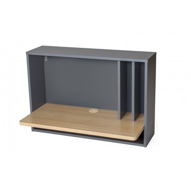 Minny skrivebord til vægophæng med hylder grå og eg.