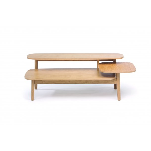 Eiric sofabord med 3 bordplader i forskellig højde ege finer og massiv eg.