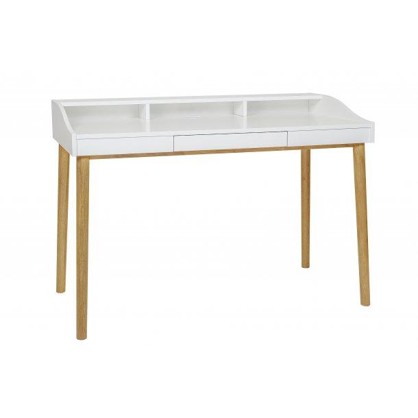 Lise skrivebord med 1 skuffe og hylder hvid og eg.