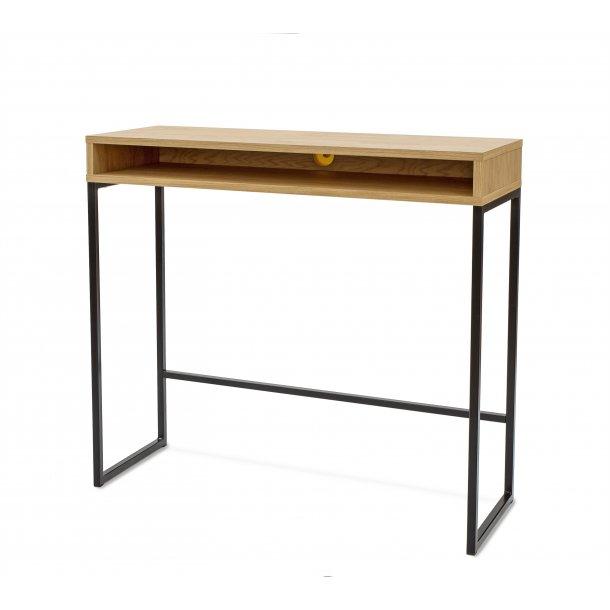 Frank skrivebord højde 92 cm med 1 hylde sort og eg.