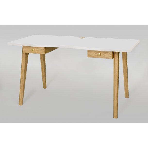 Nilan skrivebord med 2 skuffer hvid og eg.