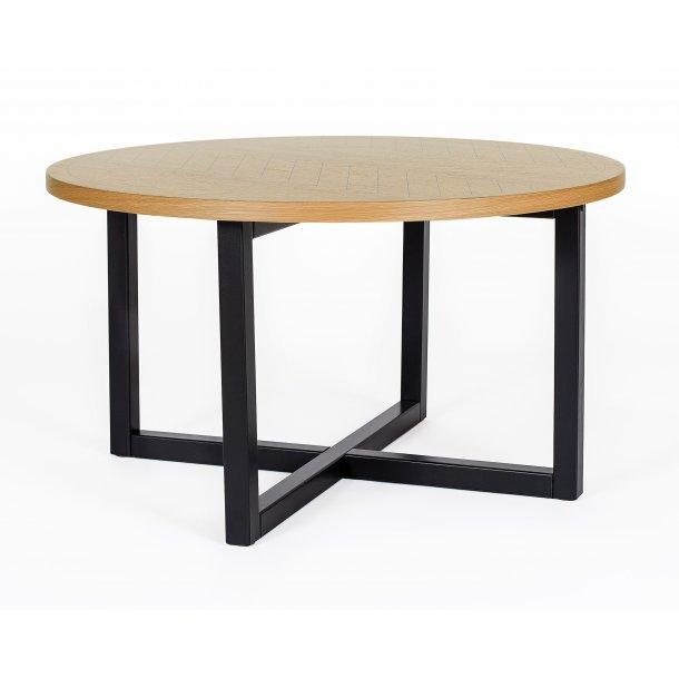 Carmen sofabord Ø 80 cm ege finer top med sort print ben i massiv birk sort bejdset.
