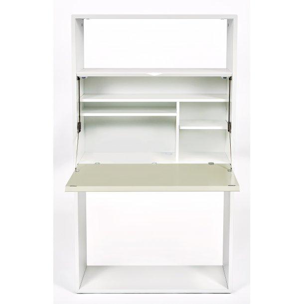 Lone skrivebord chartol med skriveklap og hylder hvid og grå grøn.