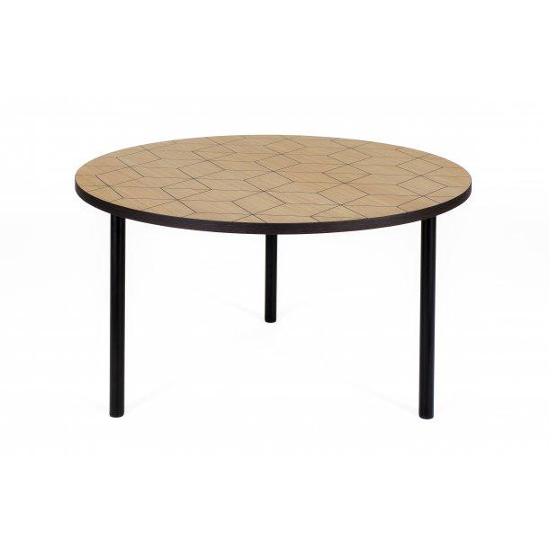 Arnie sofabord Ø 70 cm ege finer top med sort print smoked egefiner kant og ben i stål sort.