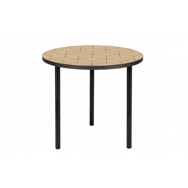 Arnie sofabord Ø 50 cm ege finer top med sort print smoked egefiner kant og ben i stål sort.