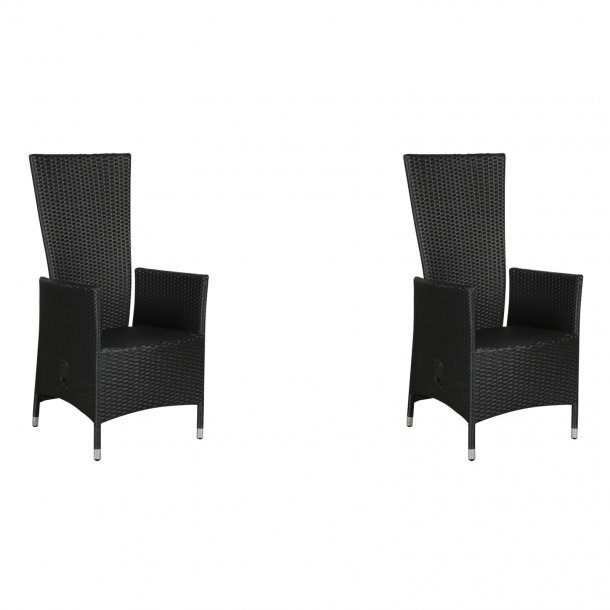 Joops 2 x havestol, med pumpe og trinløs indstillelig ryg, sort.