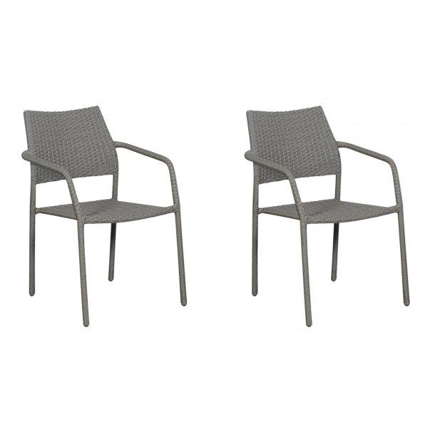 Krar 2 x havestol, stabelstol, grå.