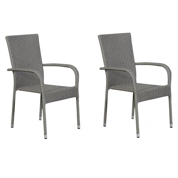 Hansi 2 x havestol, stabelstol, grå.