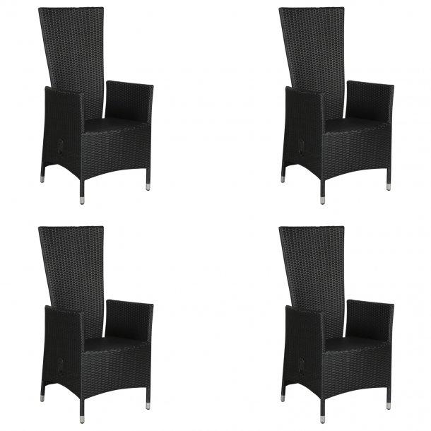 Joops 4 x havestol, med pumpe og trinløs indstillelig ryg, sort.