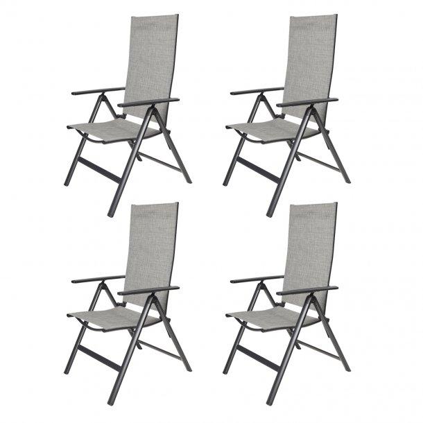 Keddy 4 x havestol, justerbar ryg, 7 positioner sort/lys grå mix.