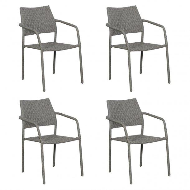 Krar 4 x havestol, stabelstol, grå.