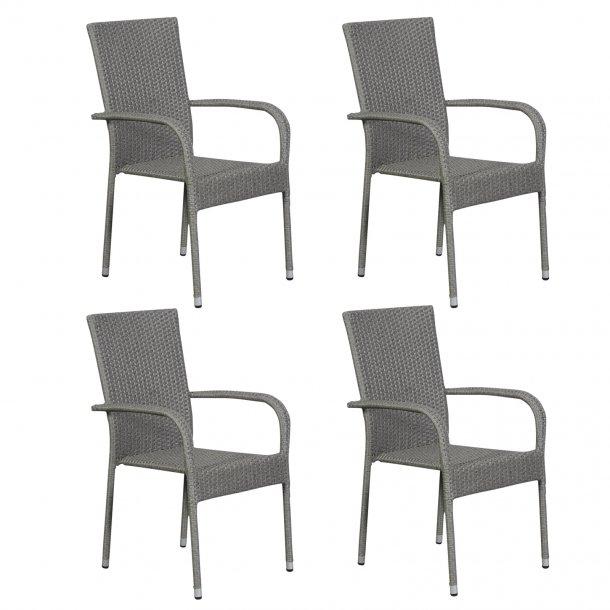 Hansi 4 x havestol, stabelstol, grå.