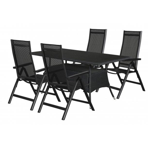 Canny havemøbelsæt 1 bord og 4 stole.