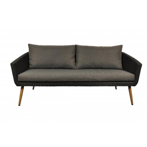 Accon loungemøbel udendørssofa, 3 personers inkl. hynder sort/grå.