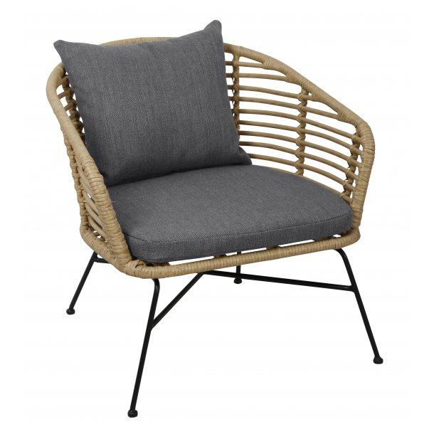 Jurn loungemøbel havestol, inkl. hynde sort, natur/grå.