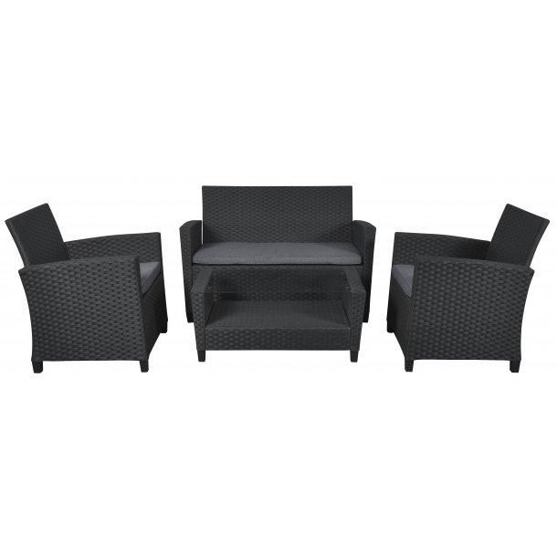 Dissy loungemøbel sofasæt, inkl. hynder sort/grå.