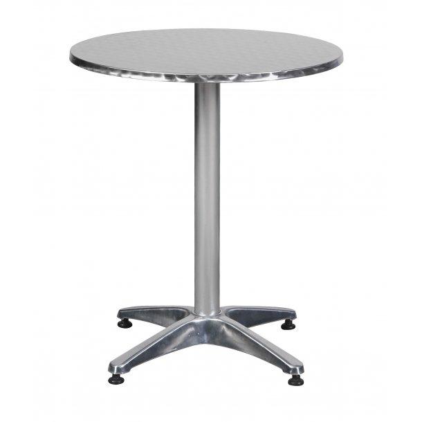 Akur cafe-og altanmøbel cafebord, Ø60 cm højdejusterbar aluminium look.